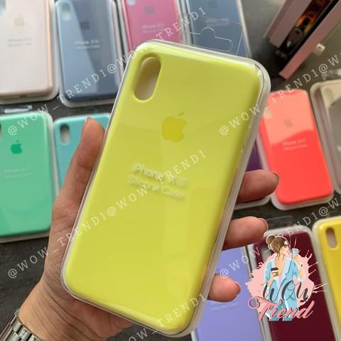 Чехол iPhone XS Max Silicone Case Full /flash/ лимонный