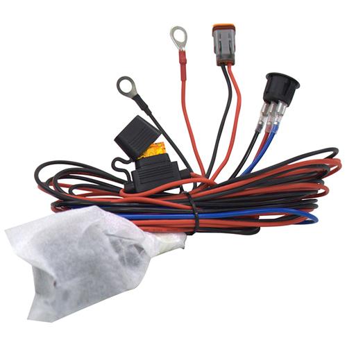 Комплект проводов с разъёмом, кнопкой, реле, предохранителем для фар 4 светодиода ALO-AW3