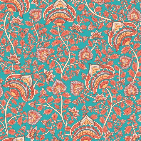 Цветочный орнамент на бирюзовом фоне. Индийский стиль (Дизайнер Irina Skaska)