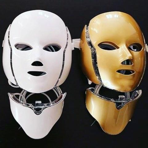 Светодиодная LED-маска для лица + накладка на шею (цвет белый)