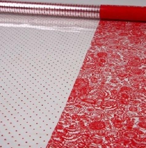 Пленка Вернисаж и точки (размер:80см х 7м) Цвет:красный