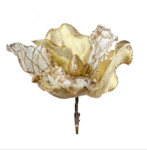 Пуансетия с глиттером на прищепке, D12см, цвет: золотой