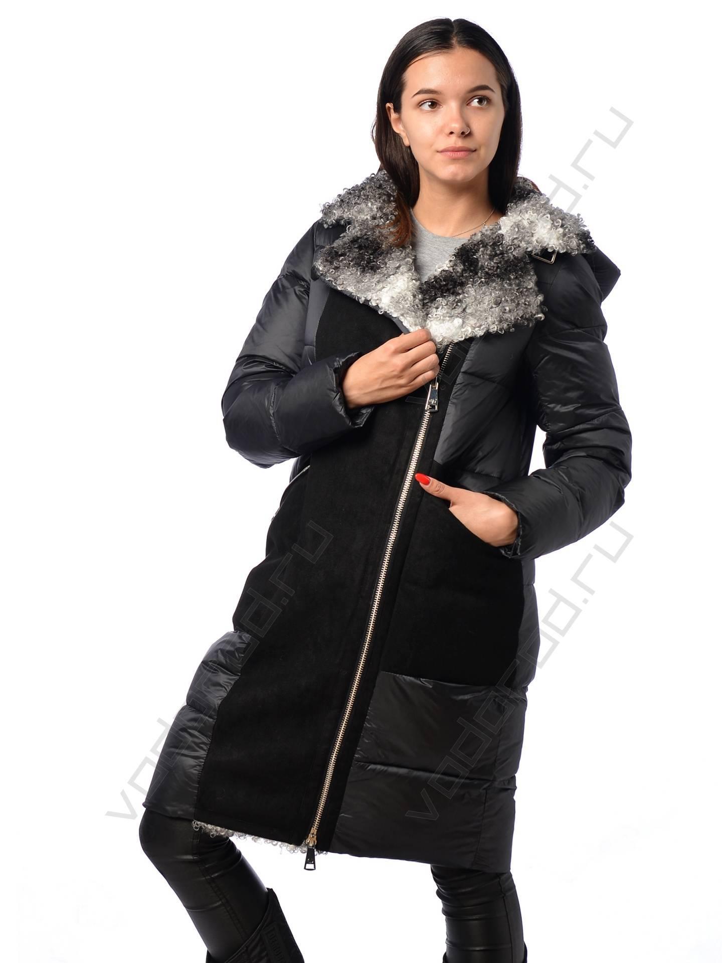 удлиненная женская куртка зимняя EVACANA 21705 (черная)