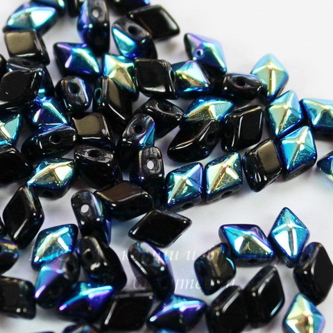 Бусина DiamonDuo mini Ромб с 2 отверстиями, 6х4 мм, черная с AB-покрытием