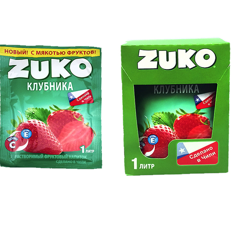 Растворимый напиток ZUKO Клубника 1кор*8бл*12шт 25гр.