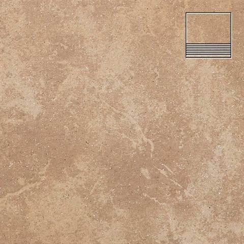Stroeher - Keraplatte Roccia 835 sandos 300x294x10 артикул 8131 - Клинкерная ступень с насечками без угла