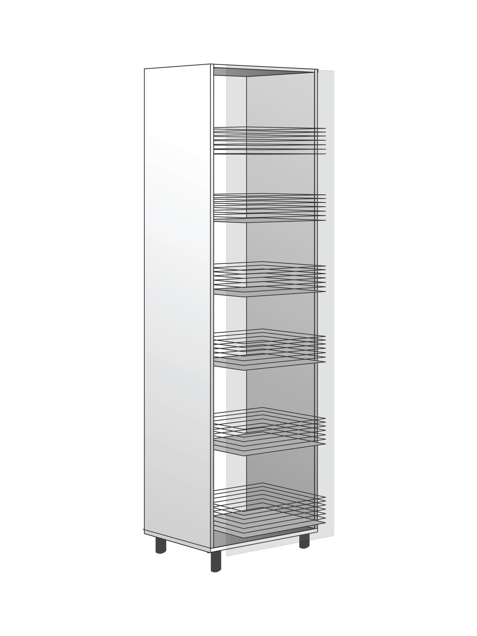 Напольный шкаф с системой хранения, 2040Х400 мм