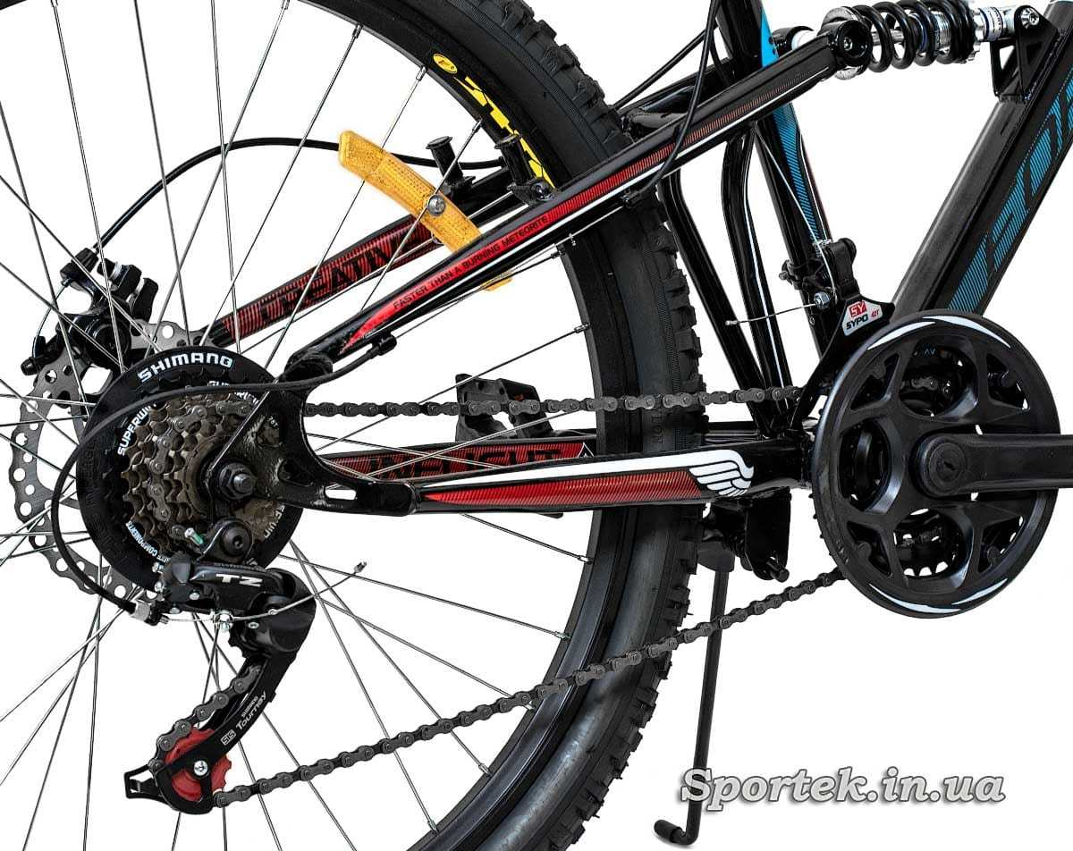 Задний амортизатор и трансмиссия горного универсального велосипеда Formula Blaze DD 2016