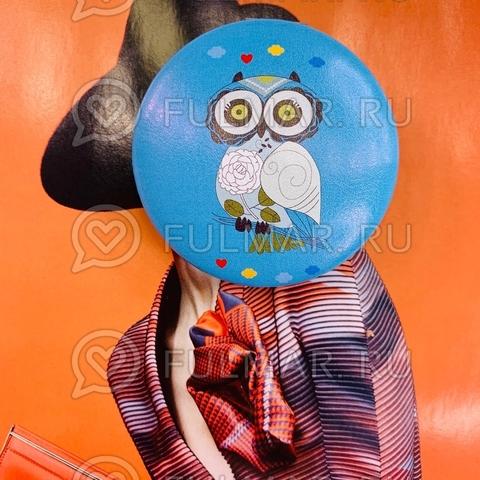 Зеркало складное карманное детское Сова синее