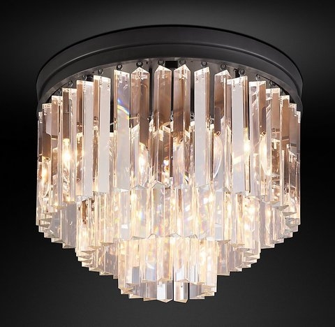 Подвесной светильник копия 1920s Odeon Clear Glass Fringe 3-Tier Flushmount by Restoration Hardware