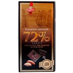 """Шоколад горький-элитный 72% """"Спартак"""" 90гр"""