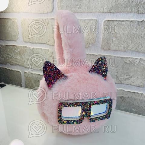 Ободок на уши Плюшевый с блёстками Котик в очках (цвет: Розовый)