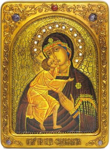Живописная инкрустированная икона Феодоровская икона Божией Матери 29х21см на кипарисе