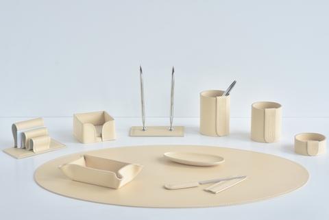 Настольный набор из кожи 10 предметов цвет слоновая кость