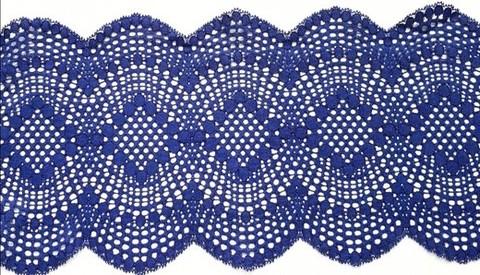 Эластичное кружево, 19,5см, темно-синий, (Арт: EK-1061), м