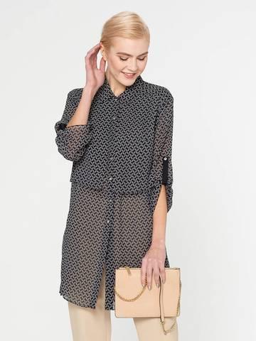 Фото удлиненная серая блузка с двойным топом с рукавами ¾ - Блуза Г571-353 (1)