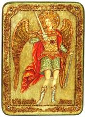 Инкрустированная икона Архангел Михаил 29х21см на натуральном дереве в подарочной коробке