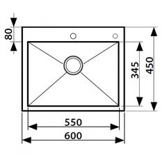 Кухонная мойка из нержавеющей стали Kaiser KSM-6045 600x450x220 схема