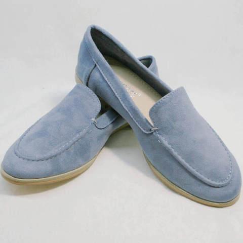 Женские лоферы туфли без каблука. Голубые лоферы замшевые женские Seastar-Light Blue.