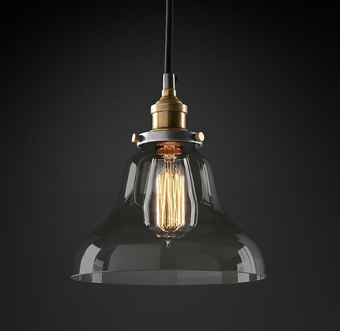 Подвесной светильник копия 20th C. Factory Filament Smoke Glass Boulangerie Pendant by Restoration Hardware