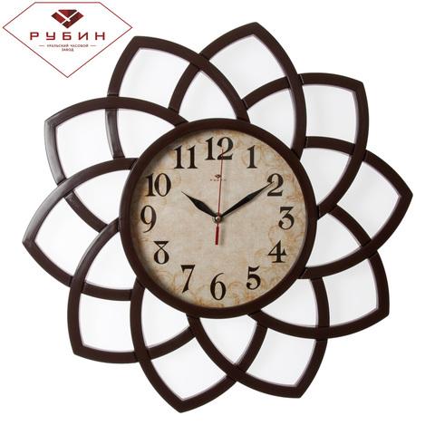 5046-101 (5) Часы настенные круг с лепестками d=49,5см, корпус коричневый