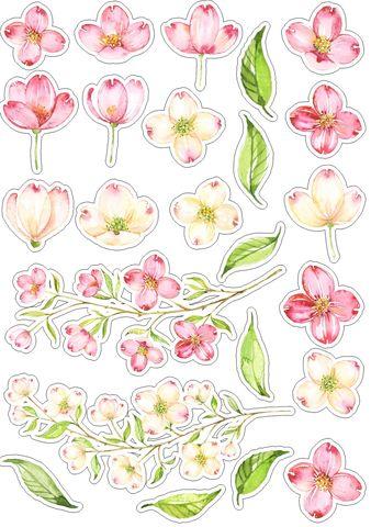 Печать на сахарной бумаге, Набор цветы 4