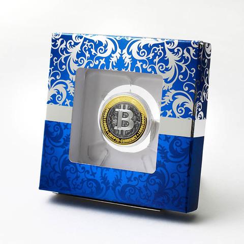 Биткоин. Гравированная монета 10 рублей в подарочной коробке.