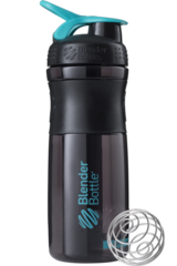 BlenderBottle SportMixer, Универсальная Спортивная бутылка-шейкер с венчиком.  Black-Teal-черный-морской-голубой 828 мл cat