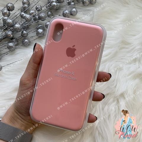 Чехол iPhone X/XS Silicone Case /pink/ пудра 1:1