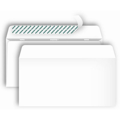 Конверт Postfix Bong Е65 80 г/кв.м белый стрип с внутренней запечаткой (1000 штук в упаковке)