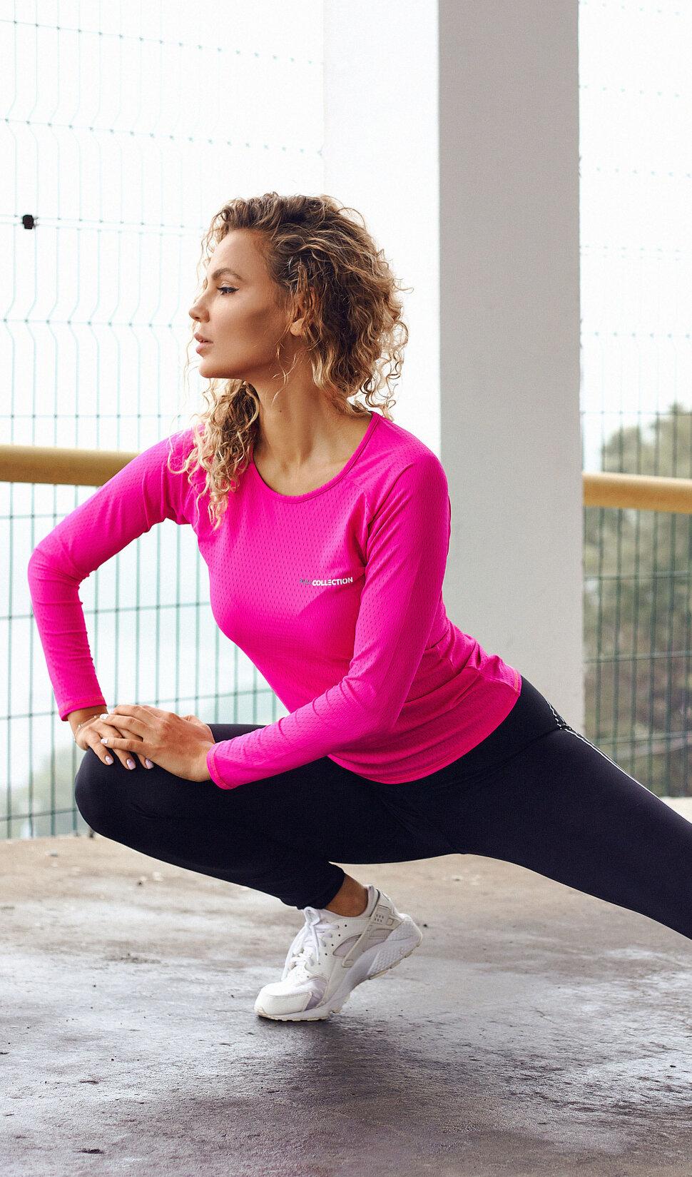 Розовый женский рашгард PRO COLLECTION Pink для фитнеса и активного отдыха
