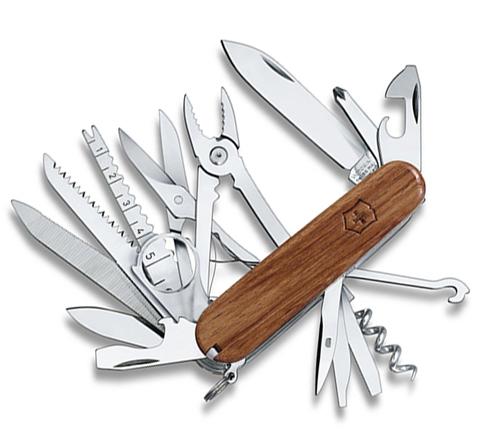 Складной многофункциональный нож Victorinox SwissChamp Wood (1.6794.69) 91 мм., 31 функция, деревянная рукоять - Wenger-Victorinox.Ru