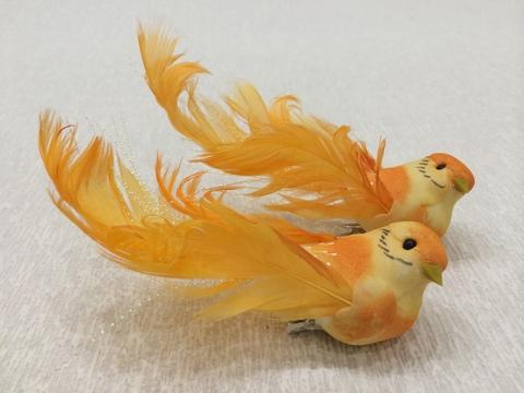 Птичка для декора - 1 (длина с хвостом 12 см), цвет: оранжевый