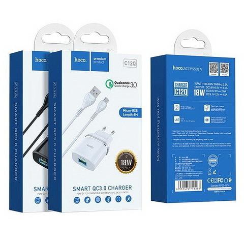 СЗУ HOCO C12Q с кабелем microUSB, QC3.0 (2xUSB, 2.4A) white