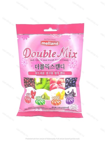 Карамель фруктовая со сливками «Double Mix candy» Melland, Корея 100 гр.