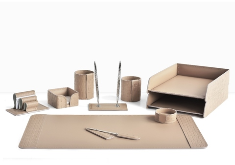 Письменный набор для руководителя 10 предметов из кожи Treccia/cafe latte