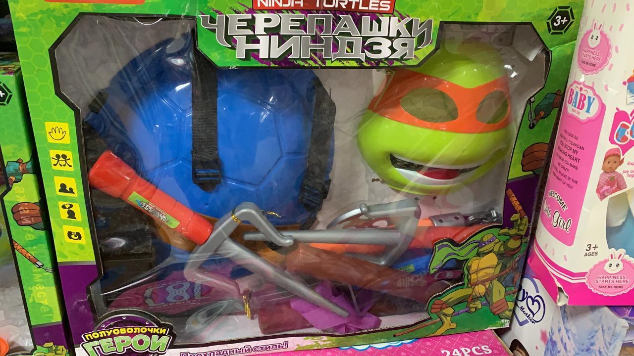 Черепашки ниндзя набор оружия (все виды), панцирь и маска
