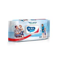 Влажные салфетки антибактериальные Aura Family 120 штук в упаковке