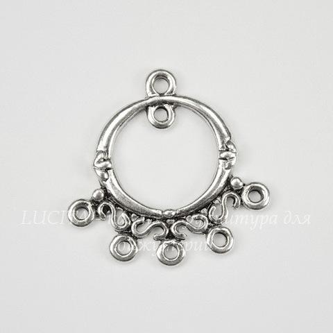 Коннектор с узором (1-6) 26х25 мм (цвет - античное серебро)