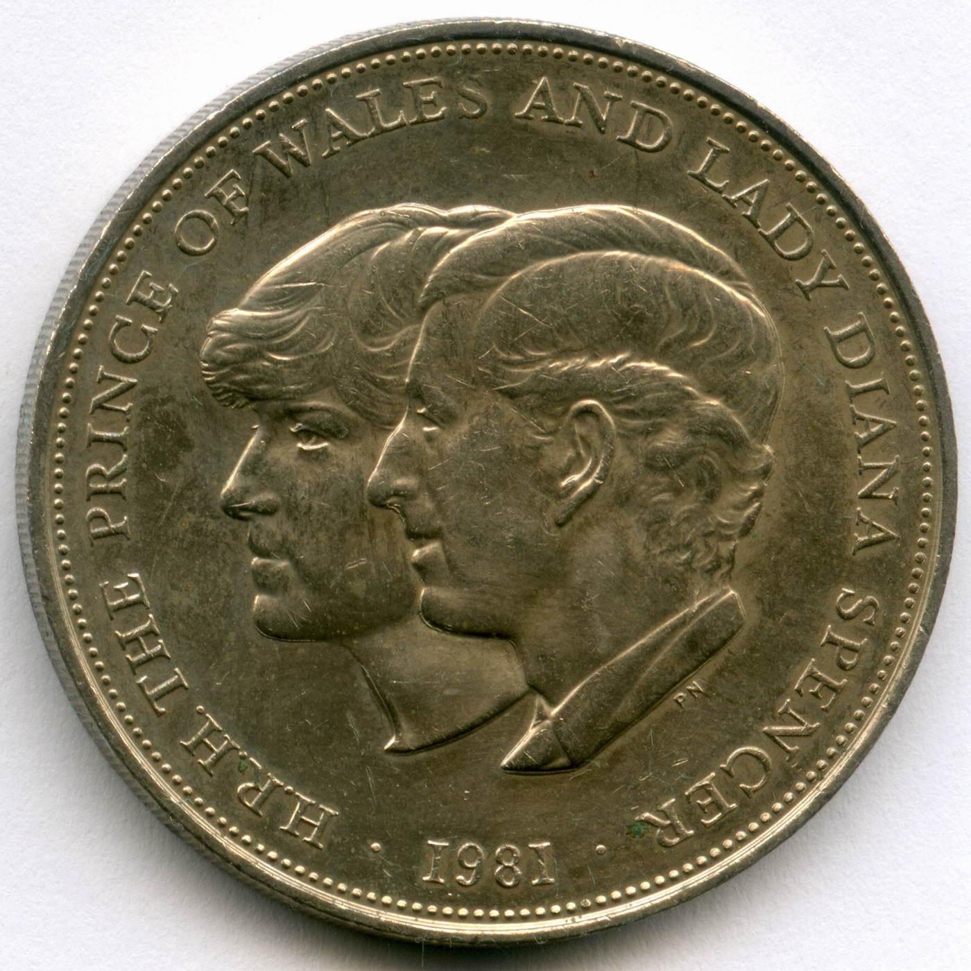 25 новых пенсов 1981 Великобритания (на свадьбу принца Чарльза и леди Дианы) VF-XF