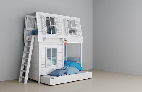 Двухъярусная кроватка-домик для мальчиков