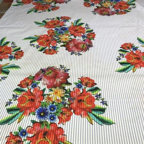 Ткань хлопок с цветами и голубой полоской 2012