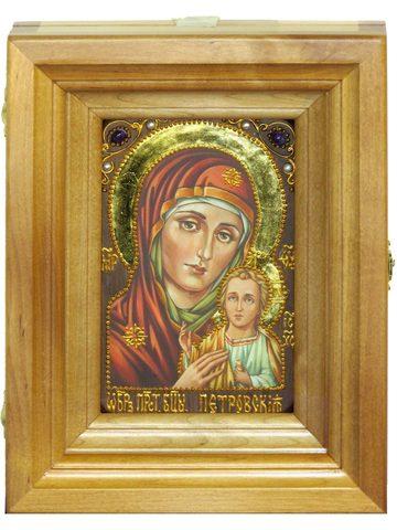 Подарочная икона Петровской Божией Матери с нимбом из сусального золота 15х10см в березовом киоте