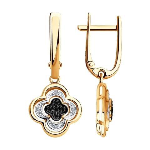 7020057 - Серьги из золота с бесцветными и чёрными бриллиантами