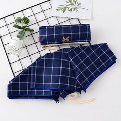Японский плоский маленький зонт фирмы Yoco с защитой от солнца (синяя клетка)