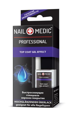 Ines Nail Medic Быстросохнущее глянцевое верхнее покрытие Top Coat Gel Effect