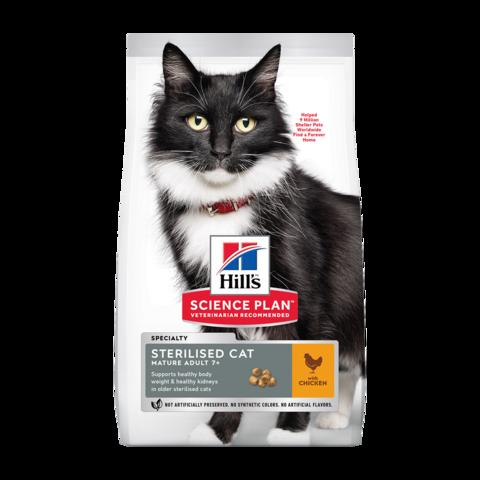 Hill's Science Plan Mature Adult 7+ Sterilised Chicken Сухой корм для пожилых стерилизованных кошек и кастрированных котов с Курицей