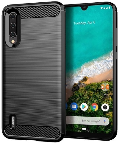 Чехол Xiaomi Mi 9 Lite (A3 Lite, CC9) цвет Black (черный), серия Carbon, Caseport