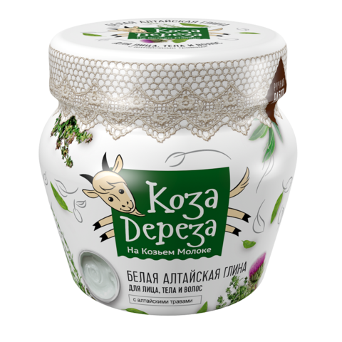 Фитокосметик Коза Дереза Белая Алтайская глина для лица, тела и волос  175мл