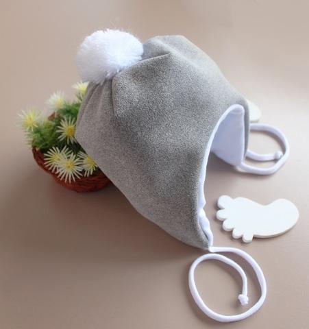 Утепленная шапка для новорожденных Нобл (0-3 мес, серый)